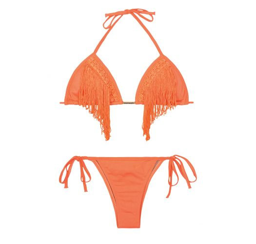 Orange fringed triangle bkini top, low-rise bottom - FRANJAS NECTARINE