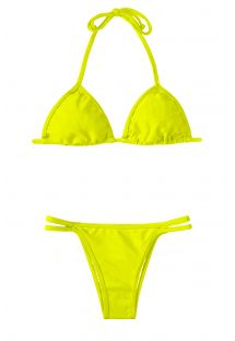 Lime yellow triangle bikini, bottom with narrow double fixed straps - ACID CORT DUO