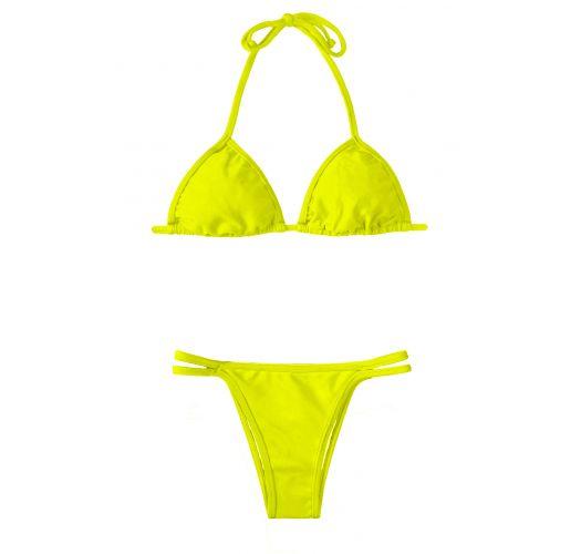 Limegul trekantsbikini og bikinitrusser med to tynde fastsiddende stropper - ACID CORT DUO