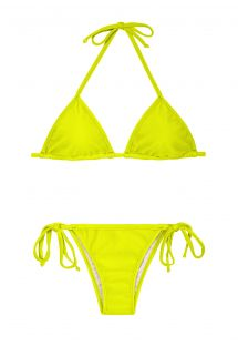 A lime yellow triangle bikini with Brazilian bottoms - ACID CORT LACINHO