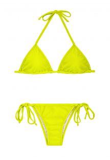 Limettengelber Bikini aus Triangeloberteil und brasilianischem Slip - ACID CORT LACINHO