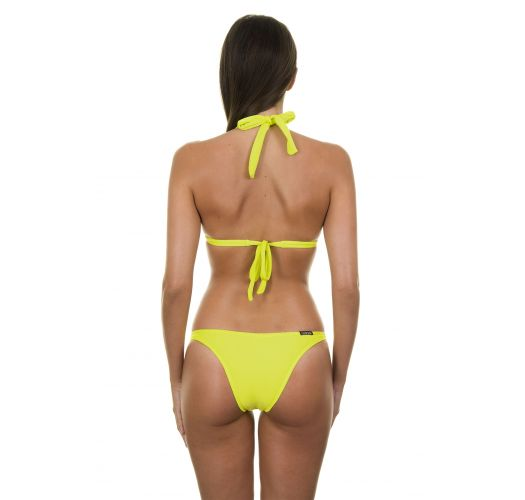 Lime yellow padded triangle bikini, low rise bottom - ACID FIXO BASIC