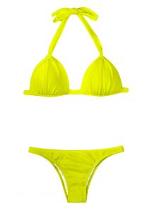 Lime yellow padded triangle bikini, low rise bottom - ACID FIXO BASIC