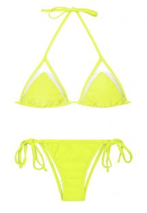 Lime-yellow triangle top bikini with tulle insert - ACID STRAP LACINHO
