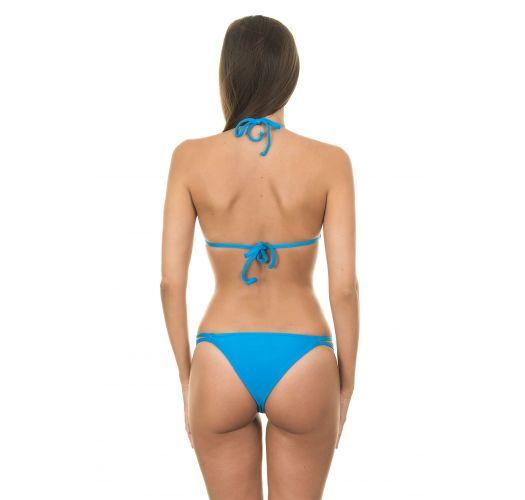 Blue Brazilian bikini with double side cords, triangle top - BLUE CORT DUO