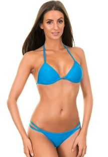 Blue Brazilian bikini with double side cords, triangle top - BLUE CORT DUO