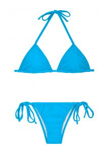 בגד ים בצבע כחול המכיל חזיה בצורה משולשת ותחתונים עם קשירה בצדדים - BLUE CORT LACINHO