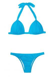 Conjunto de biquíni azul com top triangular almofadado - BLUE FIXO BASIC