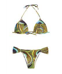 Padded triangle bikini with peacock feather print - BUFFONI