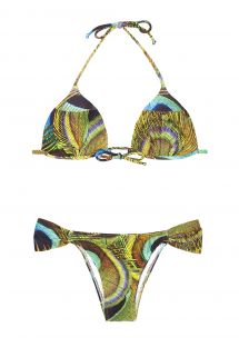 Padded triangle bikini with peacock feather print - BUFFONI