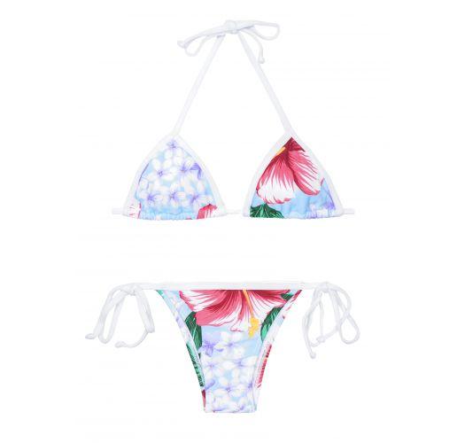 Hvid og pink bikini med blomstermønster og tanga bikinitrusser - FORMOSO