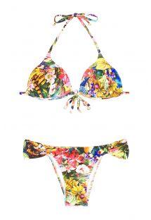 Bikini triangular acolchado con flores tropicales, parte de abajo fija - HARPIA