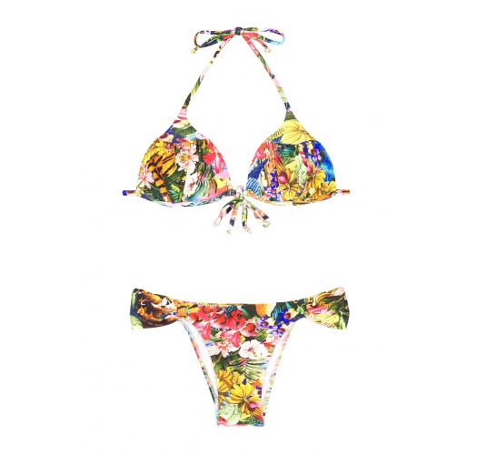 Padded triangle bikini with tropical flowers and fixed bottoms - HARPIA
