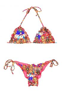 Festive multicoloured Brazilian bikini, wavy edges - IRERE