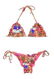 Feestelijke kleurrijke Braziliaanse bikini,golvende randen - IRERE