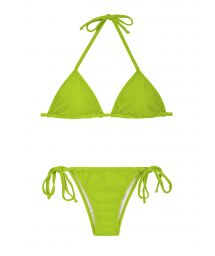 Apple green Brazilian bikini with adjustable triangle top - JUREIA CORT LACINHO