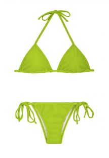 Apple green Brazilian bikini with adjustable triangle top - JUREIA CORT LACINHO