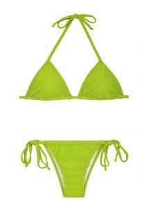 Æblegrøn brasiliansk bikini med regulerbar trekanttop - JUREIA CORT LACINHO
