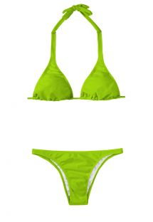 Costum de baie brazilian, verde deschis, cu sutien triunghi cu bretea după gât - JUREIA CORTINAO BASIC