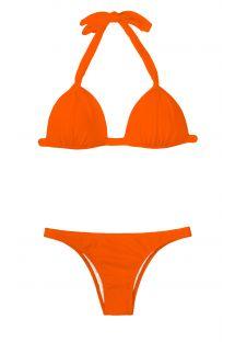 Podstavljeni raskošno narančasti trokutasti bikini, fiksni donji dio - KING FIXO BASIC