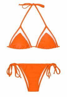 Swimming costume with orange and transparent triangle top - KING STRAP LACINHO