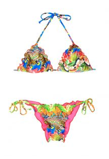 Multicoloured tropical triangle bikini, wavy edges - KUHLI