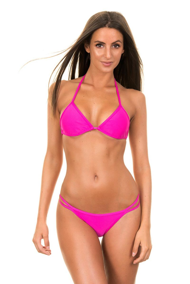 Pink Brazilian bikini med triangelformad övredel och dubbla band - PINK CORT DUO