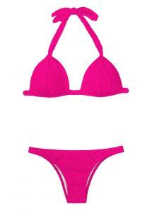 Bikini con forma triangular rosa y relleno rígido - PINK FIXO BASIC