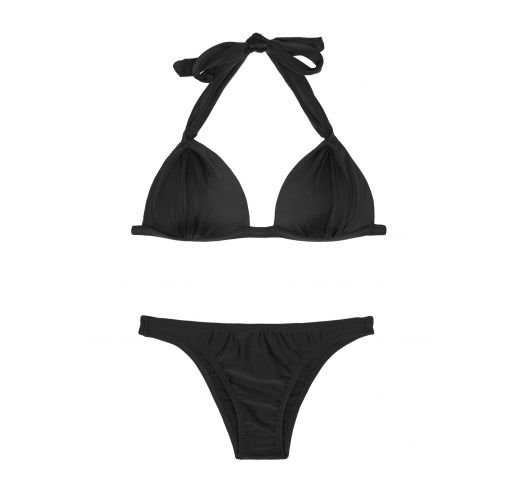 Black padded triangle bikini and fixed bottom - PRETO FIXO BASIC