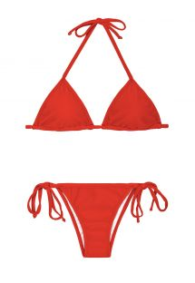 Red sliding triangle Brazilian bikini - RED CORT LACINHO