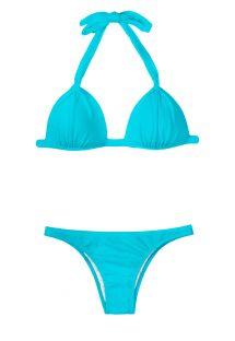 Bikini con top a triangolo imbottito azzurro - SKY FIXO BASIC