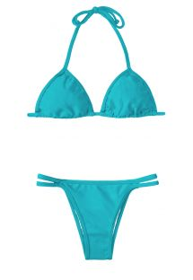 Turquoise blue triangle bikini, bottom with  decorative double cords - TAHITI CORT DUO