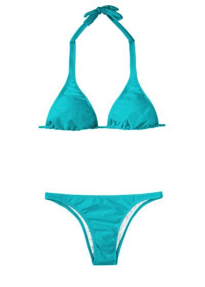 Blue Brazilian bikini bottom and scarf-effect triangle top - TAHITI CORTINAO BASIC