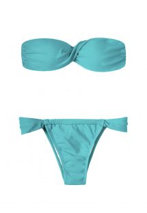 Blue twisted bandeau bikini, adjustable low-rise bottom - TAHITI TORCIDO SUMO