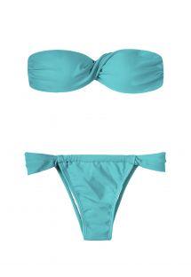Blauer verdrehter Bandeau-Bikini, verstellbarer ausgeschnittener Unterteil - TAHITI TORCIDO SUMO