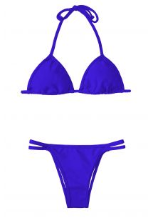 Rich blue triangle bikini, bottom with double fixed ties - ZAFFIRO CORT DUO
