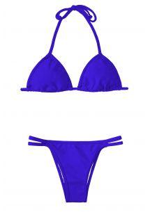 Bikini triangle bleu foncé, bas double liens fixes - ZAFFIRO CORT DUO