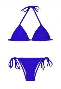 Dunkelblauer brasilianischer Bikini, Triangeloberteil mit Tunnelzug - ZAFFIRO CORT LACINHO