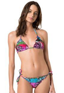 Bikini multicolor din stofă creponată cu margini văluroase - MAJORELLE PINK