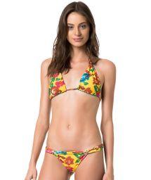 Flowery yellow/plain blue reversible triangle bikini - MELODY