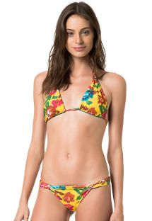 Flowery yellow/plain blue reversible triangle bikini - MELODY