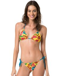 Reversible floral yellow or plain blue scrunch bikini - MELODY HYPNOSE