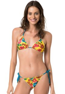 Reversible floral yellow or plain blue scrunch bikini - MELODY HYPNOSE