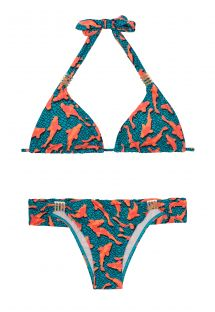 Bikini triangle bleu et orange, motif poissons -  CARPAS METAL