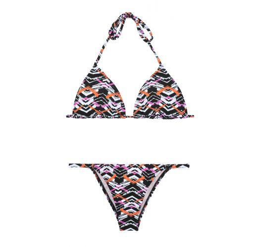 Triangel-Bikini mit grafischem Muster, nicht anpassbarer Unterteil mit schmalen Seiten  - FISHY