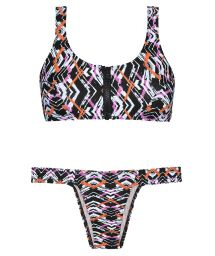 Graphic bikini, zipped bra top, fixed bottom - FISHY NEO