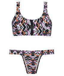 Graphic bikini, zipped bra top, fixed bottom - FISHY NEO