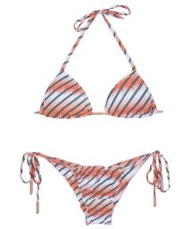 Triangle bikini in blended shades of salmon pink, scrunch bottom - LISTRAS FISH