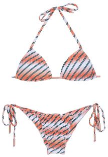 Bikini triangle rose saumon dégradé, bas scrunch - LISTRAS FISH