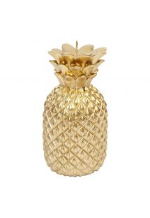 Pequeña vela en forma de piña de color dorado - GOLD PINEAPPLE CANDLE SMALL